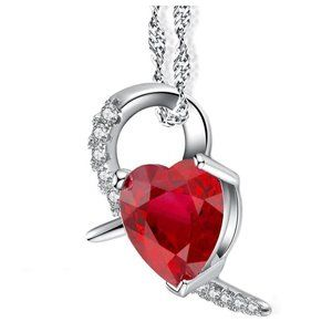 Jewelry - Heart Shape Pendant Necklace 6.90 Ct Ruby And Diam